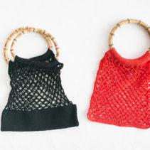 持ち手つきネット編みバッグ