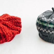 編み込みベレー帽・かぎ針編みのベレー帽