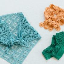Ⓐ透かし編みのかかとソックス  Ⓑ連続モチーフで編む夏のミニストール  Ⓒマーガレット模様の三角ショール