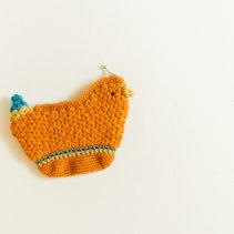 小鳥のリフ編みポーチ