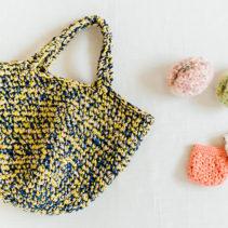 こま編みのミックスバッグまたは  リフ編みのミニポーチ