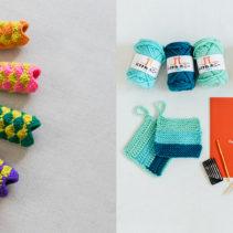 こいのぼりのガーランド または はじめての編み物