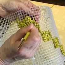 キットNo.185 ネット編み付けのスクエア模様のカゴバック