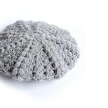 玉編みベレー帽